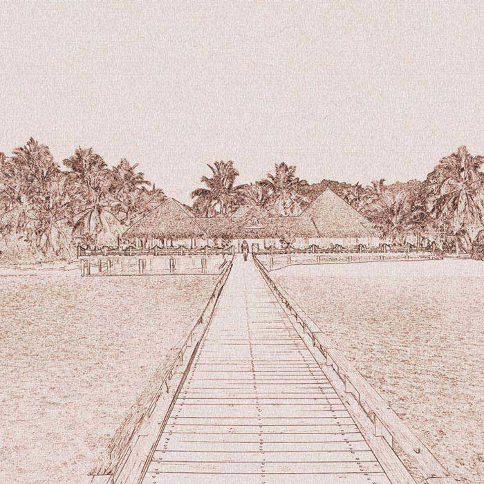 Fototapeta DIMEX Jetty Painting Brown L-321| 220 x 220 cm