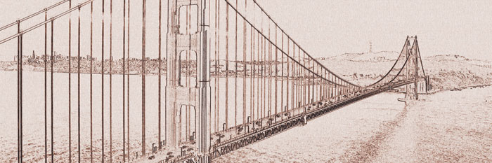 Fototapeta DIMEX Golden Gate Painting Brown M-302| 330 x 110 cm