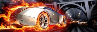 Fototapeta DIMEX Car in Flames M-464| 330 x 110 cm