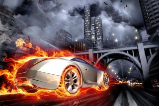 Fototapeta DIMEX Car in Flames XL-490| 330 x 220 cm