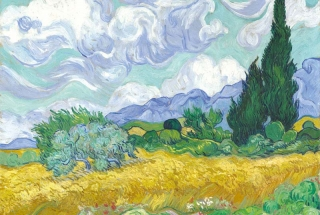 Fototapeta DIMEX Wheat Field with Cypresses XL-496| 330 x 220 cm